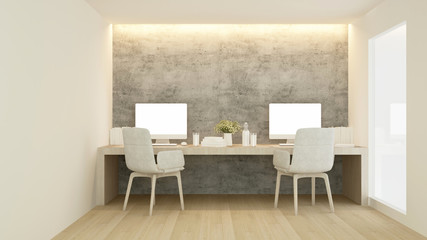 Workplace in condominium or small office - Study room white tone artwork for apartment or home office - 3D Rendering