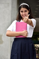 Happy Catholic Colombian Female Student Wearing School Uniform