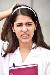 Cute School Girl Under Stress