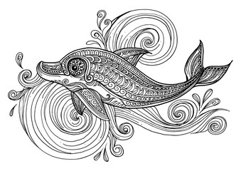Hand drawn dolphin with scrolling sea wave