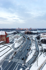 Aerial view of highway leading into Warsaw Old town, overlooking the Praha river