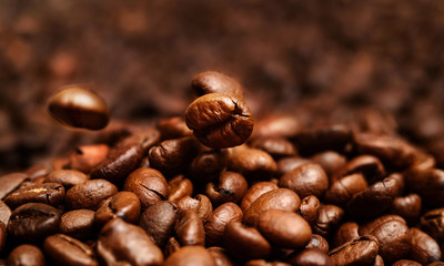 Grains of coffee close-up.