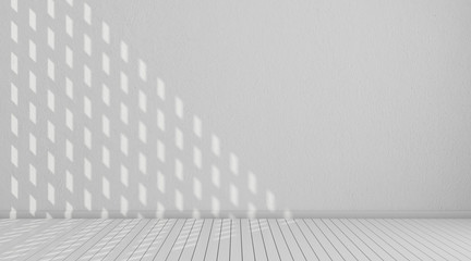 3D stimulate of white room interior and wood plank floor with sun light cast the window shadow on the wall,Perspective of minimal design architecture