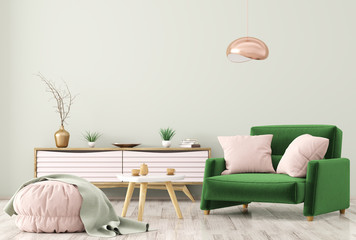 Interior of living room with dresser and armchair 3d rendering