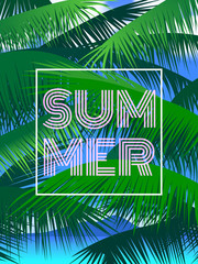summer vertical poster with palm leaves on sky background