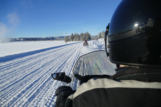 Snowmobile guided tour, Yellowstone National Park, Wyoming, United States