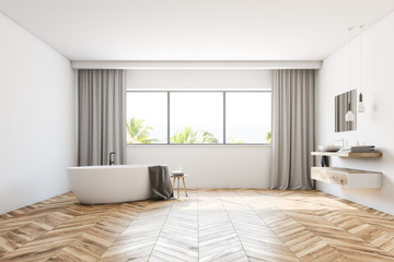 White bathroom with curtains