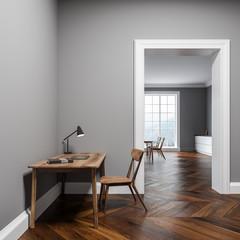 Gray home office interior, door, side view
