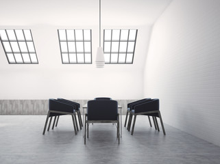Attic meeting room interior black chairs side view