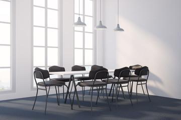 White dining room corner, minimalism