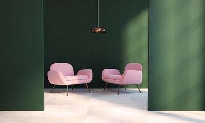 Green living room, two pink armchairs, doorway