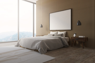 Wooden wall loft bedroom interior poster side view