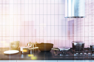 Pink kitchen, black counter, cooker toned