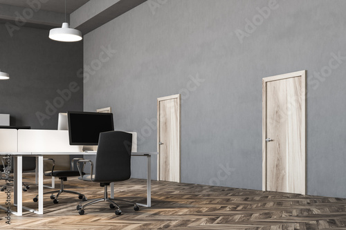 Dark Gray Wall Office Interior Doors Stock Photo And Royalty Free