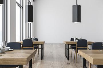 White wall restaurant interior