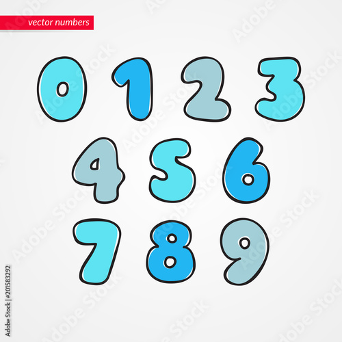 Sketch Numbers Decorative Funny Isolated 0 1 2 3 4 5 6 7 8 9 Icons