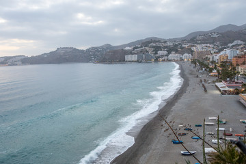 Panoramic view of the beach of Almuñecar in Granada