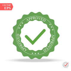Approved Stamp Vector Over a White Background. Simple mark graphic design.