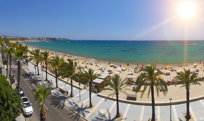 View of Salou Platja Llarga Beach in Spain during sunny day