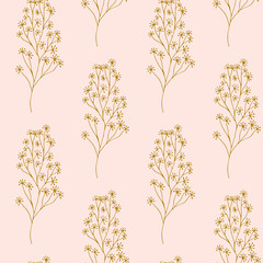 Seamless pattern. Cute pattern in branches. Pink background.