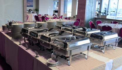 Catering event plate service.Smorgasbord, food choice of breakfast in a restaurant