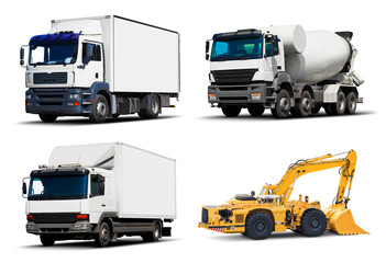 Set of industrial trucks and vehicles