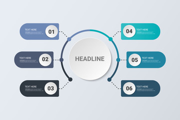 Infographic Concept. Flow Chart Design. Business concept with 6 options, steps or processes.