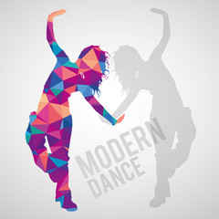 Polygonal silhouette of sportive girl dancing modern dance