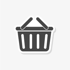 Basket sticker, Basket shopping commercial icon, simple vector icon
