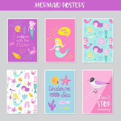 Cute Mermaids Cards Set with Underwater Creatures for Greeting, Baby Shower Invitation, Print, Posters. Hand Drawn Childish Marine Design. Vector illustration