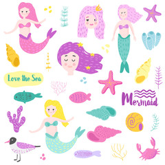 Cute Underwater Creatures elements with Mermaid and Fish. Childish Nautical Hand Drawn Doodle for Decoration, Print, Pattern. Vector illustration