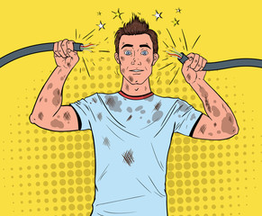 Pop Art Man Holding Broken Electrical Cable after Domestic Accident. Funny Dirty Electrician. Vector illustration