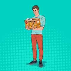 Pop Art Unhappy Man Holding Damaged Parcel. Unprofessional Delivery Service. Vector illustration