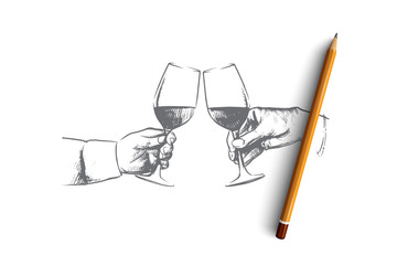 Party time concept. Hand drawn male hands with glass of wine. Hands of persons clink glasses with alcohol isolated vector illustration.