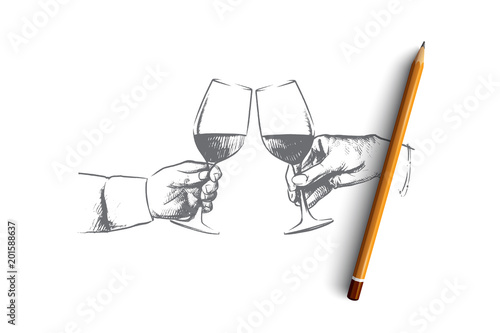 party time concept hand drawn male hands with glass of wine hands