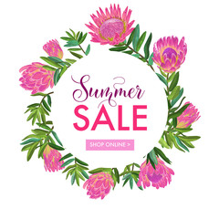 Summer Sale Floral Banner. Seasonal Discount Advertising with Pink Protea Flowers. Tropical Paradise Spring Promotional Design for Poster, Flyer. Vector illustration