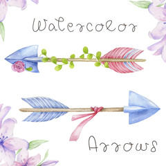 Arrows clip art, drawing flowers watecolor illutration arrow and flowers on white background
