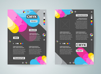 Flyer brochure design. Front and back template design cover. Business flyer size A4 template, cmyk print polygraphy colored