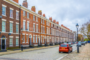 Brick houses in Liverpool, England