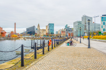 View of the business center of Liverpool through Albert dock, England