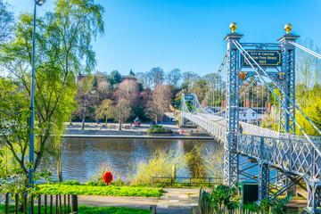 Hanging bridge over river Dee in Chester, England Fotomurales