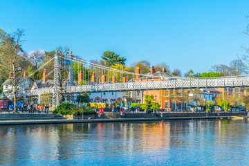 Hanging bridge over river Dee in Chester, England Wall mural