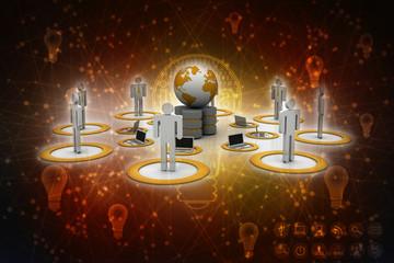 3d rendering Computer business network