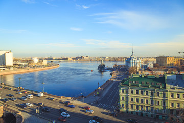 view of the cruiser Aurora and the Neva in St. Petersburg in the evening in the spring