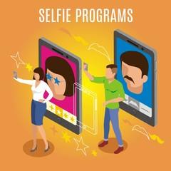 Selfie Programs Isometric Background