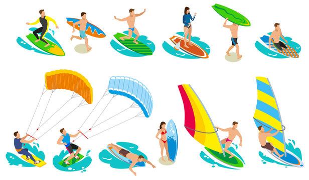 Surfboard Types Icon Set