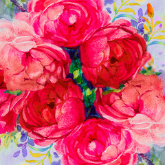 Acrylic Prints Candy pink Painting art watercolor landscape pink,yellow color of the roses.