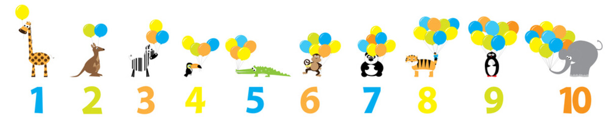 Educational poster for preschool with animals, balloons and numbers 1-10 / vector illustration for children