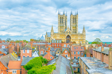 Aerial view of the lincoln cathedral, England Wall mural
