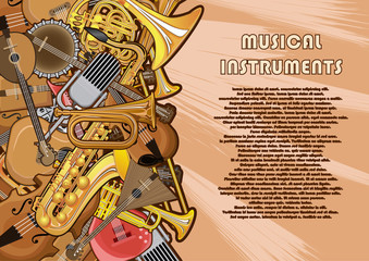 Musical instruments painted on a poster